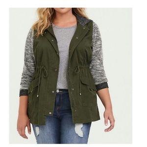 Torrid marled mixed media anorack jacket